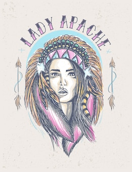 Lady indian apache цветные иллюстрации