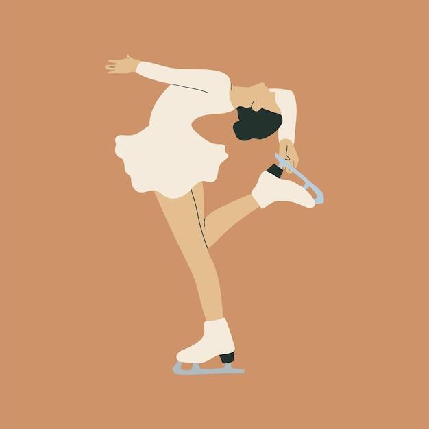 Леди фигурное катание рисованной иллюстрации в плоском мультяшном стиле
