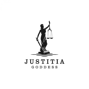 Lady justice, justitia goddess silhouette logo for attorney and law