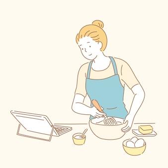 Леди смотрит онлайн-рецепт и готовит десерт в стиле рисованной линии