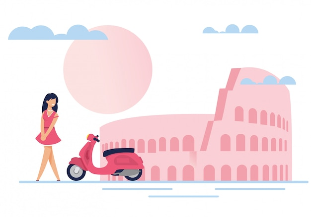 Lady, moped, romantic scene with famous attraction
