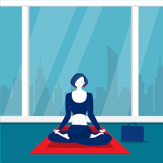 Lady office  happy meditation and yoga with stress and anxiety.