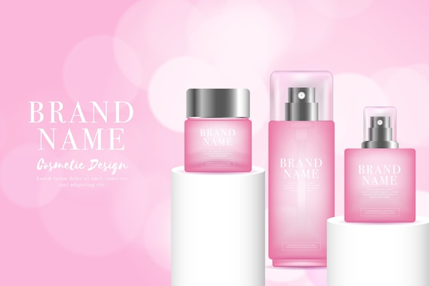 Lady perfume in pink tones cosmetic ad