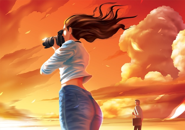 Lady photographer is taking a photo of the beautiful sunset and the farther man is stealing her glance
