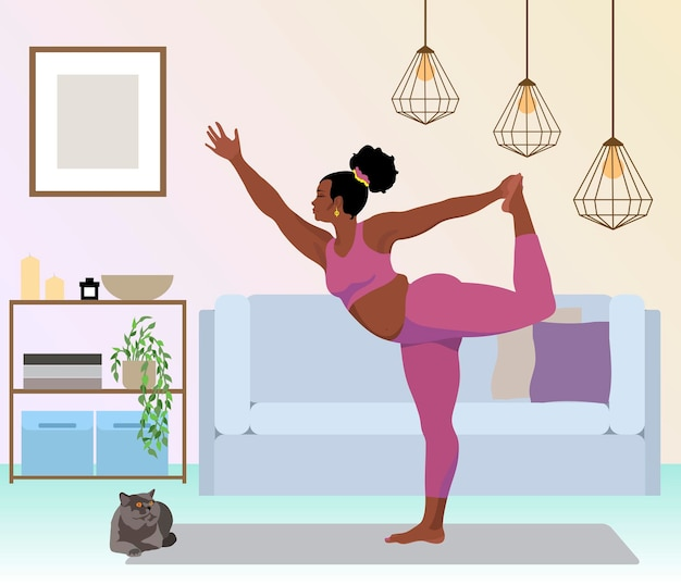 自宅でヨガを練習している女性フラットベクトルイラスト