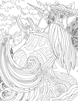 Lady raising hand and unicorn standing facing each other with forest backgroun line drawing woman