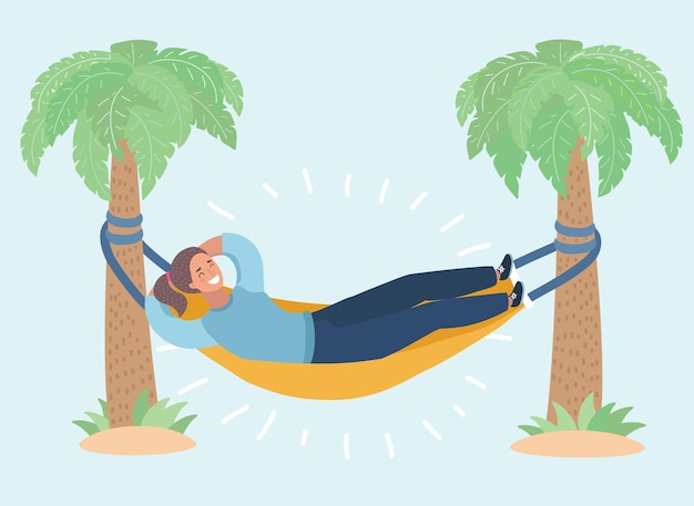 Lady reading the book in the hammock vector illustration