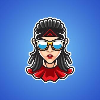 Lady rock star 스포츠 로고