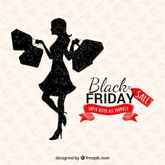 Lady shopping on a black friday background
