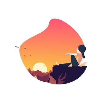 Lady sitting at sunset point