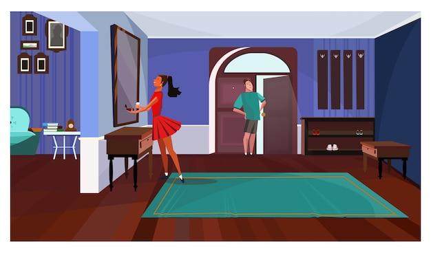복도 그림에서 거울 앞에 서있는 여자