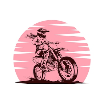 Lady sunset motocross vector illustration