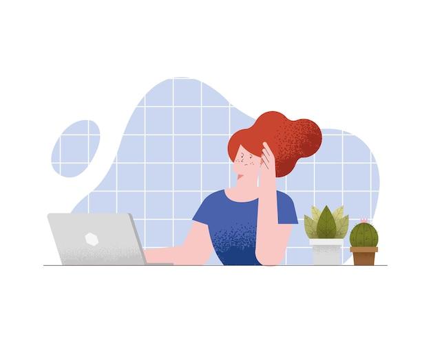 Lady in virtual class