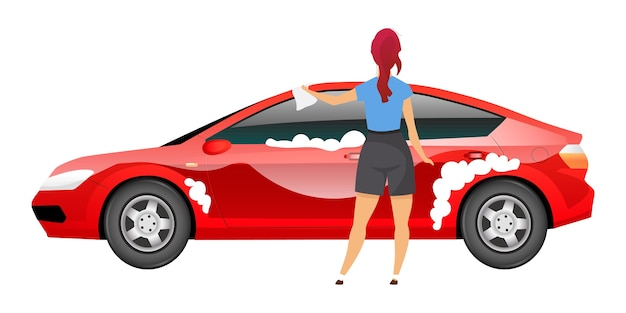 Lady washing car flat color faceless character. young woman polishing sedan with rag isolated cartoon illustration for web graphic design and animation. girl in casual clothes cleaning auto