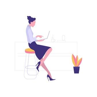 Lady working on laptop, beautiful businesswoman using laptop