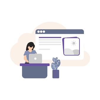 Леди, работающая над значком ноутбука, значком работающей девушки, значком блога, значком человека, плоским цветом, значком ноутбука, управлением социальными сетями