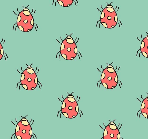 Ladybug  doodle seamless pattern