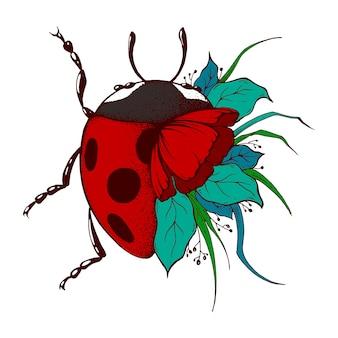 Ladybug ink drawing