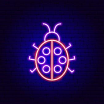 てんとう虫のネオンサイン。バグプロモーションのベクトルイラスト。