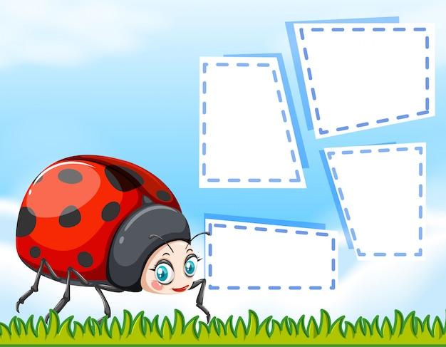 Ladybug on note background