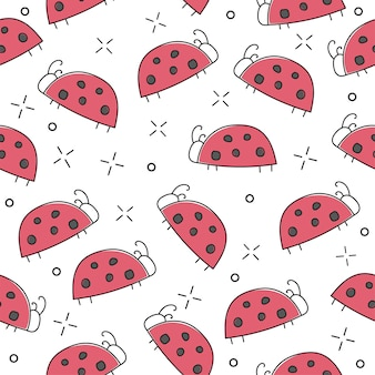 Ladybug seamless pattern, abstract texture. vector art illustration for print - hand drawn style