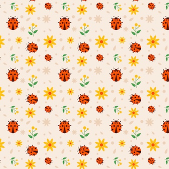 Ladybug seamless pattern collection