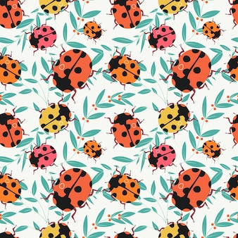 Ladybug seamless pattern meadow insect texture design