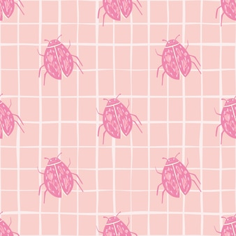Ladybug silhouettes seamless doodle pattern. stylized  insects in pink tones