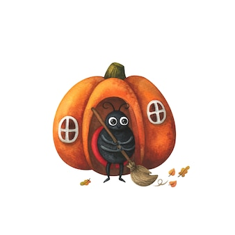 A ladybug sweeps the fallen leaves in front of the house. autumn illustration with a pumpkin