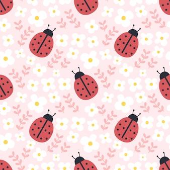 てんとう虫と花のシームレスなパターン背景