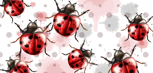 Ladybugs pattern texture watercolor