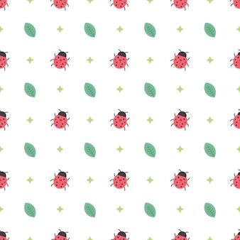 Ladybugs seamless pattern template