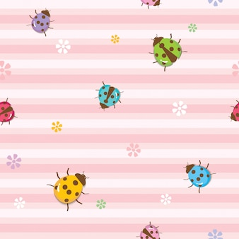 Ladybugs seamless pattern