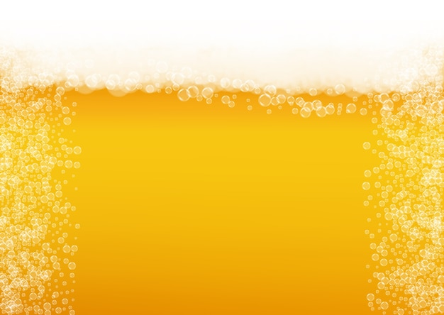 Светлое пиво. фон с всплеск ремесла. пена октоберфест. взбейте пинту эля реалистичными белыми пузырьками.