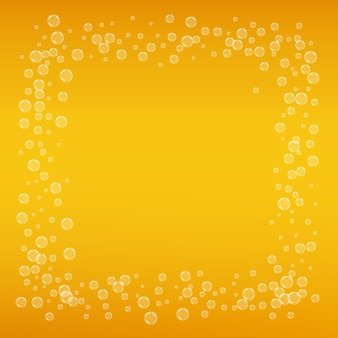 Lager beer. background with craft splash. oktoberfest foam. orange menu layout. froth pint of ale with realistic bubbles. cool liquid drink for pab. gold cup for beer background.