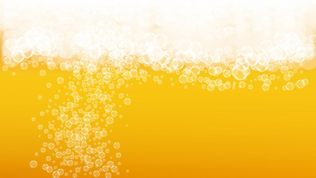 Lager beer. background with craft splash. oktoberfest foam. pab flyer template. bavarian pint of ale with realistic white bubbles. cool liquid drink for orange bottle with lager beer.
