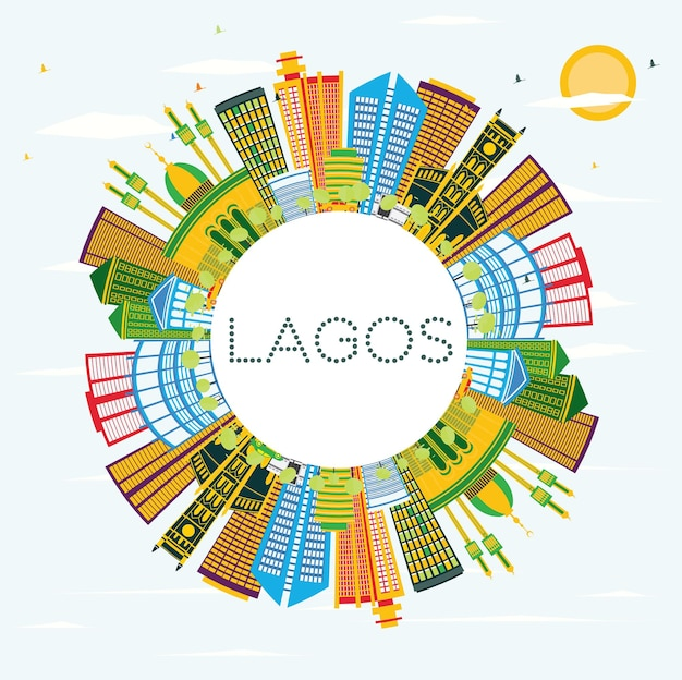 Lagos nigeria city skyline with color buildings, blue sky and copy space. vector illustration. business travel and tourism concept with modern buildings. lagos cityscape with landmarks.