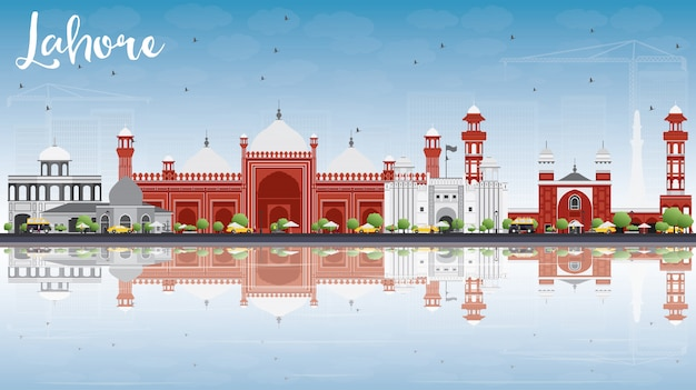 Lahore skyline with gray, red landmarks and reflections. business travel and tourism concept with historic buildings.