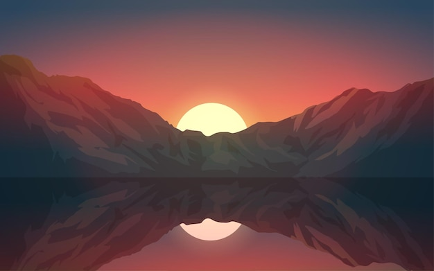 Озеро и гора отражение на фоне заката
