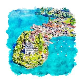 Озеро бриенц швейцария акварельный эскиз рисованной