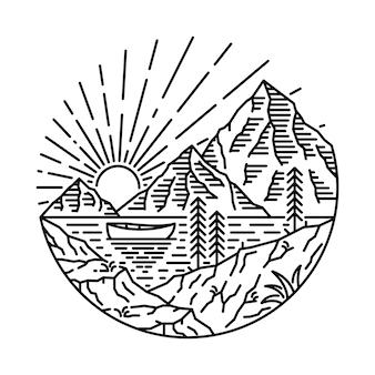 Lake camp hike nature wild line graphic illustration art t-shirt design