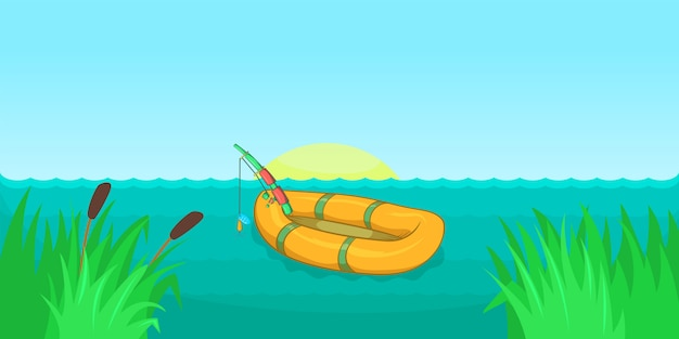 Lake fishing horizontal background , cartoon style