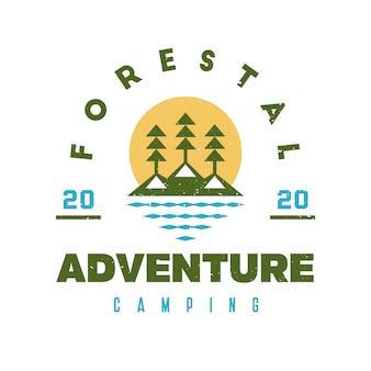 Озеро лес гранж дизайн логотипа