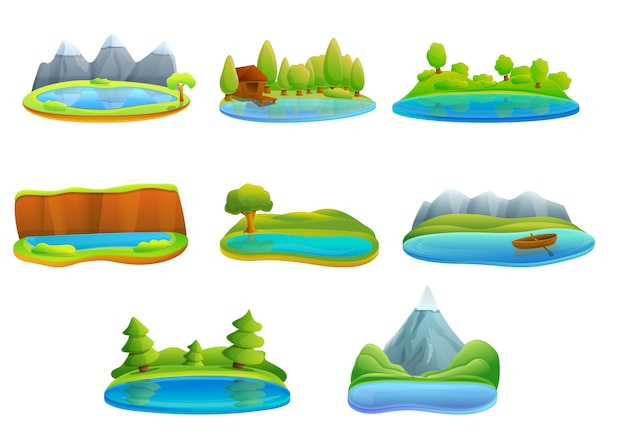Lake icon set, cartoon style
