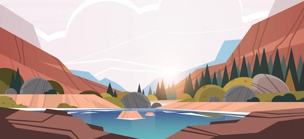 산맥 일몰 숲 풍경 아름 다운 자연 배경 가로 앞 호수