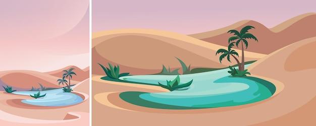 Озеро посреди пустыни. природный ландшафт в вертикальной и горизонтальной ориентации.