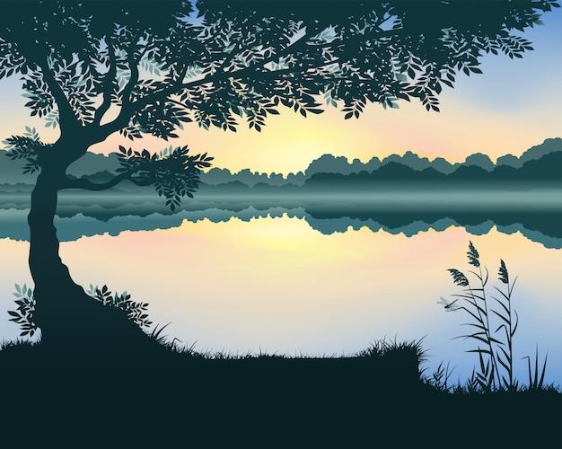 Lake landscape at dawn.