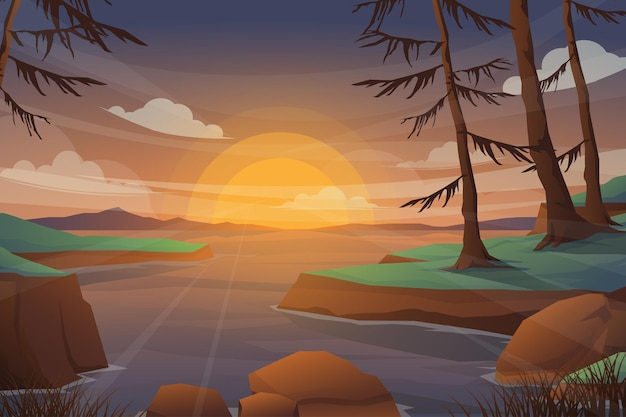 Lake and mountain with sunset landscape. realistic pine in forest and mountain silhouettes, evening wood panorama.  illustration wild nature background