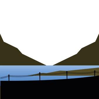 湖の山とフェンスのイラスト