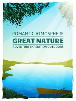 Lake nature landscape background poster